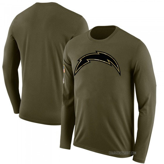 Men's Blank Los Angeles Chargers Salute to Service Sideline Olive Legend Long Sleeve T-Shirt