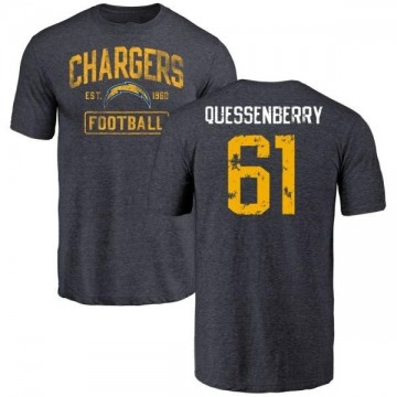 Men's Scott Quessenberry Los Angeles Chargers Distressed Name & Number Tri-Blend T-Shirt - Navy