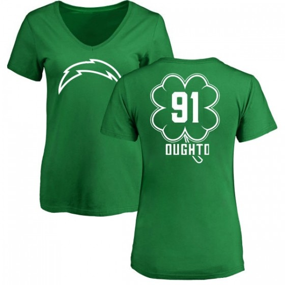 c63de920 Women's Cortez Broughton Los Angeles Chargers Green St. Patrick's Day Name  & Number V-Neck T-Shirt