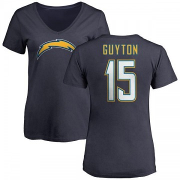 Women's Jalen Guyton Los Angeles Chargers Name & Number Slim Fit V-Neck T-Shirt - Navy