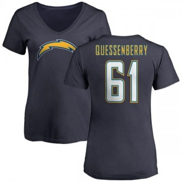 Women's Scott Quessenberry Los Angeles Chargers Name & Number Slim Fit V-Neck T-Shirt - Navy